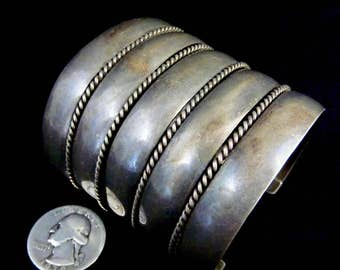 Circa 1950's:  101g Old Pawn Vintage Navajo Sterling Silver 9 Shank Cuff Bracelet! Fabulous Warm Patina! Solid Silver Masterpiece!
