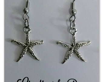 Starfish Earrings Surgical Steel Hooks