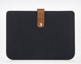 Paperwhite Case - Amazon Kindle Cover - Kindle Ebook Reader Paperwhite Leather Case - Felt and Leather Case - Black Felt Kindle Bag
