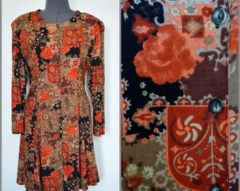 MASKIT Israel Vintage 1980's Button-Front Mini Dress/Tunic Viscose Floral Print, Size M