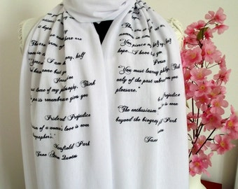 JANE AUSTEN Book Quotes Scarf Pride and Prejudice and more Quotes Handprinted Text Scarf  Literary Scarf Book Lovers Scarf