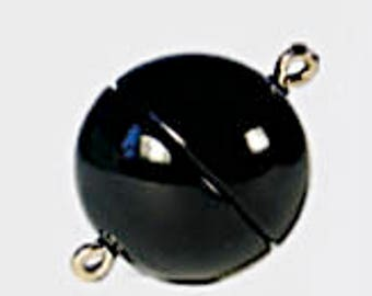 Black Magnetic Clasps in Two Finishes and Four Sizes - 8mm, 10mm, 12mm, and 15mm