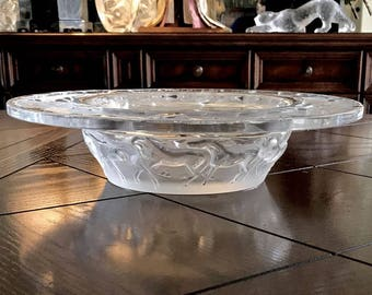 "Lalique Cavalcade Crystal Centerpiece Bowl with Horses Parading 12.5"" Signed and Guaranteed Authentic"
