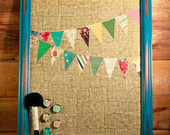 FREE SHIPPING, Magnetic Message Board, Bunting, Dry Erase Magnet Board, Rustic Decor, Dorm, Friend Gift, Bulletin Memo Board, Shabby