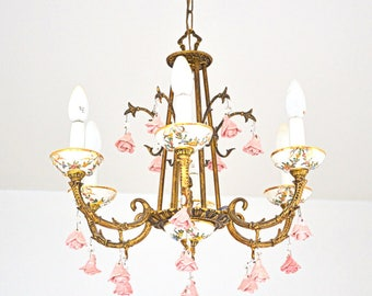 Romantic chandelier with 6 arms French vintage  1950s
