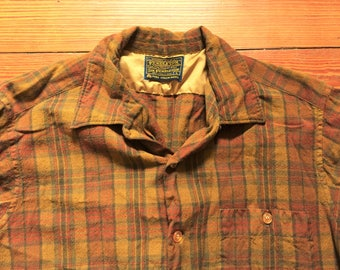 Vintage 60s Pendleton Tan Plaid Board Shirt Large