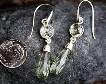Prasiolite Dangle Earrings - 2 Stone Green Amethyst Earrings - Green Quartz Checkerboard Prasiolite earrings 2 Stone Green Amethyst Dangles