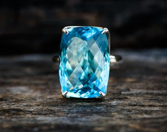 Blue Topaz Ring 7 - Swiss Blue Topaz Ring 7 -Swiss Blue Topaz Jewelry - December Birthstone - Swiss Blue Topaz Ring - Baby Swiss Ring 7