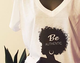 Be Authentic Women's Fashion T-shirt. Lightweight. Silhouette. Essential that loves to be layered. Art by Robyn Y Palmer Designs