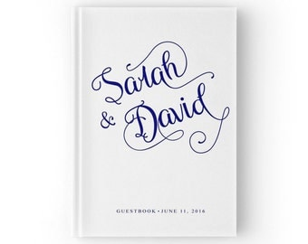 Wedding Guest Sign Book, Navy Blue and White Wedding Guest Book, Elegant Wedding Guestbook, GB 009
