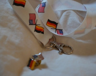 Unique Vintage German-American flags pins, Germany/ USA brooches/pins with lanyard