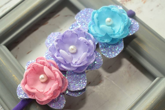 Lilac pastel glittery  floral hairband - Baby / Toddler / Girls / Kids Elastic Flower Crown / Hairband / Headband / photo prop /crown