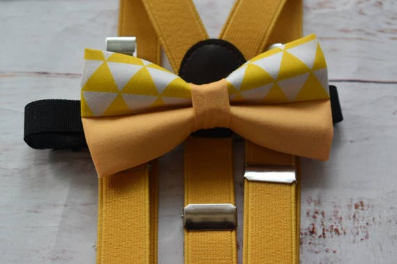 Kids yellow and white geometric print Bow Tie  for Baby, Toddlers and Boys (Kids Bow Ties) with Braces / Suspenders