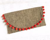 Pom-Pom Burlap Summer Foldover Clutch - Gift for her, Birthday, Anniversary, Bridesmaid