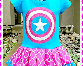 girls captain america dress 3T ready to ship