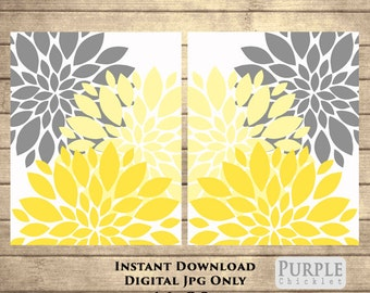 """Yellow Flower Bursts Blossoms Botanical Printable Art 16"""" x 20"""" Grey and Yellow Digital Modern Wall Art Set Home Decor Instant Download 49"""