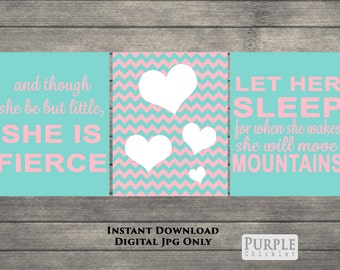 Heart Wall Art And Though She Be But Little She is Fierce Turquoise Pink White Nursery Decor Move Mountains 8x10 Printable JPEG Files 252ab