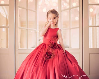 Red flower dress Mii/Allure princess gown
