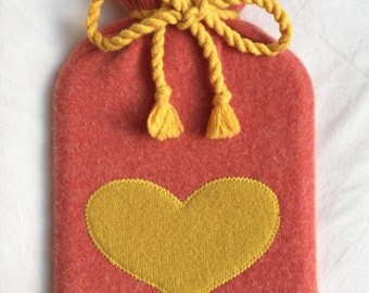 Pure Cashmere Hot Water Bottle Cover with yellow love Heart // Gift For Her // Gift For Him // birthday gift