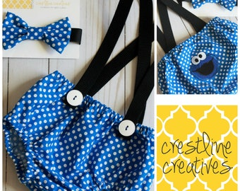 Cookie Monster Cake Smash Outfit, First Birthday Outfit, Cake Smash Set