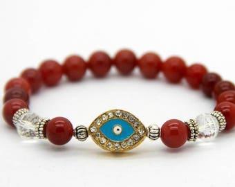 Protection Eye Bracelet, Beaded Red Agate and Crystal, Boho, Yoga, Meditation, Chakra Bracelet free shipping