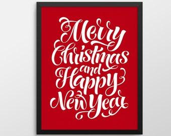 Christmas Printable Art, Merry Christmas and Happy New Year Wall Art, Christmas Decor, Christmas Print, Merry Christmas Holiday Decor Sign