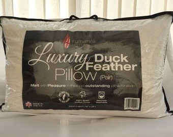 "19"" x 29"" (50cm x 75cm) 4 x Luxury Duck Feather & Down Pillow"