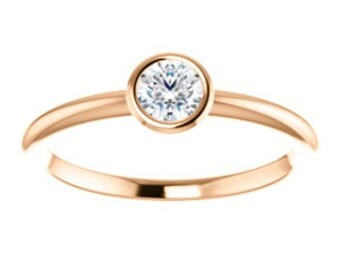 "Rose Gold Moissanite Solitaire Ring, 14K Gold ""Forever Brilliant"" Low Profile Stacking Ring, White, Yellow, or Sterling Silver"