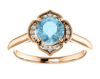 Rose Gold Diamond Halo Ring, 14k, Floral Engagement Ring, Alternative