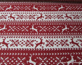 Christmas Flannel Fabric - Red Nordic Reindeer - 1 yard - 100% Cotton Flannel
