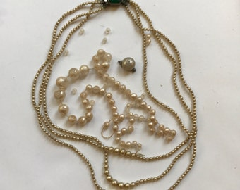Lot of Vintage Faux Pearl Necklace and Loose Faux Pearls and Claspfir Jewelry Repair