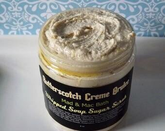 Butterscotch Creme Brulee - Whipped Goat Milk Soap Sugar Scrub - Butterscotch Rum Brittle