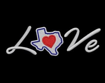 I love Texas Machine Embroidery Design, Texas Flag