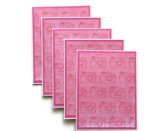 Set of 5 Blank Note Cards Pink Camera Theme With Envelopes, Stationary Set, Greeting Cards, Hand Made, Home Made, Photography, Photo