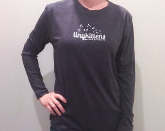 3XL - long sleeve - Charcoal - UNISEX - Official TinyKittens T-Shirt - 100% of proceeds support animal rescue!