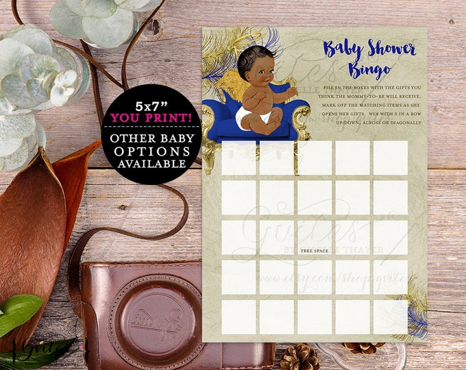 African American baby shower bingo, ethnic gold blue printable, vintage baby boy, ethnic baby shower games, sheets, royal blue {You Print}