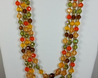 West Germany colorful beaded necklace & earring set-green,orange,gold,amber beads.