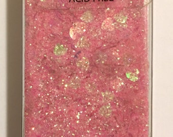 Pink Iridescent Crafting Powder with Tiny Hearts