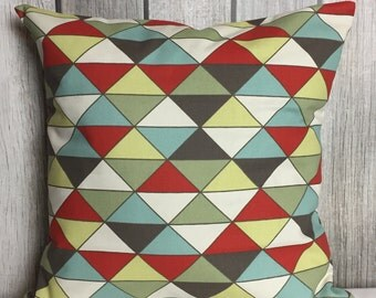 Throw Pillow. Geometric Pillow. Pillow Cover. Decorative Pillow. Red and Blue Pillow