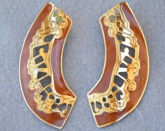 Berebi Brown Enamel Pierced Earrings Vintage