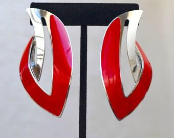 Berebi Red Enamel and Silver Tone Big and Bold Earrings