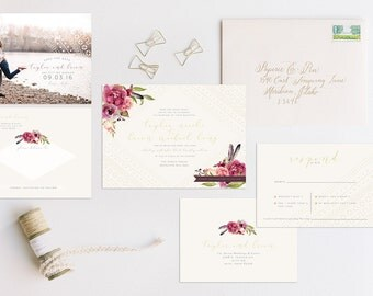 Boho Floral Mudcloth Wedding Invitation