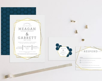 Geometric Mid Century Modern Wedding Invitation
