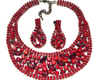 Stunning RR Red Rhinestone Statement Runway Bib Necklace with Matching Earrings