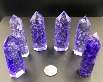 """One (1) Purple Smelt Quartz Point Crown Chakra 3"""" from Lot - Ships free in US!"""