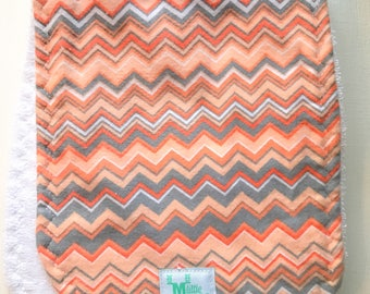 Burp Cloth - Chevron, Gray and Orange - Flannel and Terry Cloth - Thick and Absorbant