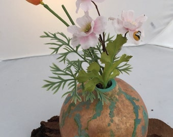 Copper patina painted gourd vase