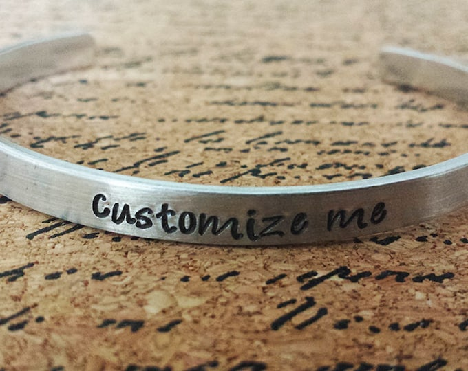 "Featured listing image: Custom Personalized 1/4"" Aluminum Bracelet Cuff - Hand Stamped"