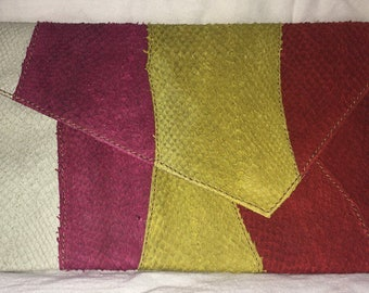 Salmon Leather Clutch- pink, red, yellow& cream