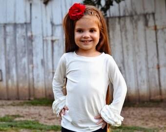 Girls Ruffle Shirt - Long Sleeve Ruffle Shirt - Girl Layering Shirt - Boutique Knit Shirt - Toddler Shirt - Toddler Girl Shirt - Ruffled Top